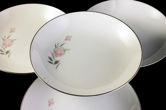 Soup Bowls, Royal Court, Bella Rose, Dessert Bowls, Pink and Grey, Rose Pattern, Platinum Trim, Fine China