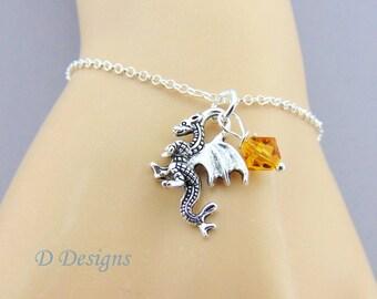 Dragon Bracelet, Sterling Silver Birthstone Bracelet, Dragon Gifts, Dragon Charm Bracelet