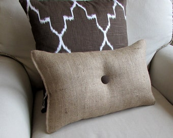 lumbar style 11x19 Burlap Pillow with chocolate brown organic cotton duck button front and back