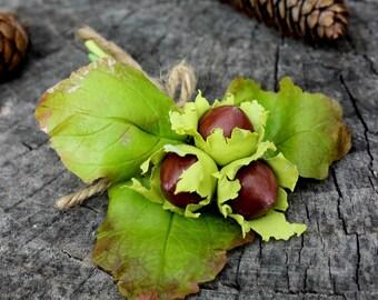 Hazelnuts Brooch - Green Brooch - Autumn Brooch - Cold Porcelain Brooch - Handmade Brooch - Gift for her - Jewelrylimanska