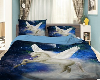 3D Pegasus DW 176 View Bedding Bed Pillowcases Quilt Duvet Cover Set Twin Single Size Full Size Queen Size King Size Jessica