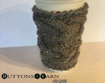 Gray Cabled Coffee Cup Cozy