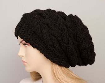 Big Sale -Slouchy beanie  oversized beanie hat winter knit hat for woman in black  -COLOR OPTION  AVAILABLE