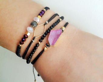 Druzy bracelet, Friendship bracelet, Macrame bracelet, Stacking bracelet,Bracelet set,Gold bracelet, Boho bracelet, Gemstone bracelet,Trendy
