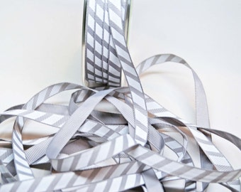 Varsity Diagonal Grosgrain Stripe Ribbon -- 3 / 8 Inch -- Gray White Stripe
