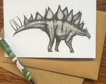 Stegosaurus Dinosaur Greetings Card Hare Raising Designs