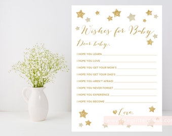 Twinkle Little Star baby shower printable, Wishes for baby downloadable file, gold stars, gender neutral, DIY, INSTANT DOWNLOAD, 006