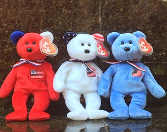 TY Beanie Babies, America (Red, White, & Blue - Set of 3)