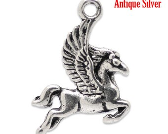 PB56 - Set of 10 silver-plated 16x20mm Pegasus winged horse charms