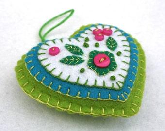Felt heart ornament, handmade embroidered felt heart, Pink and green heart, Felt heart Christmas ornament, Handmade heart ornament
