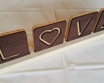 """LOVE - Walnut and curly maple word art with 4"""" tiles and stand"""