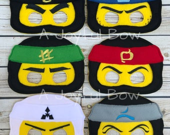 Ninja dress up and party favor masks, ninjago, ninjago birthday, ninjago party, ninjago gifts, ninjago birthday party favor