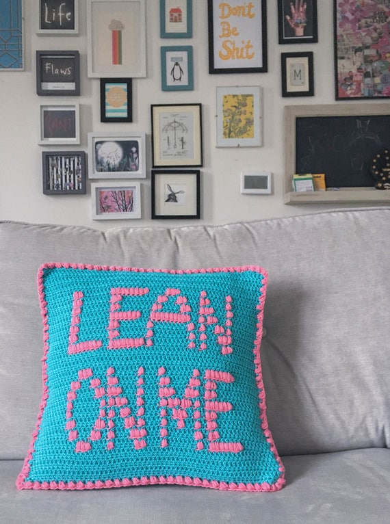 Lean On Me Crochet Cushion Cover Pattern Removable Modern