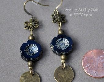 Bronze and Midnight Blue Flower Earrings