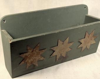 Ivan Barnett Folk Art * wintage wood box * wood and tin * vintage folk art