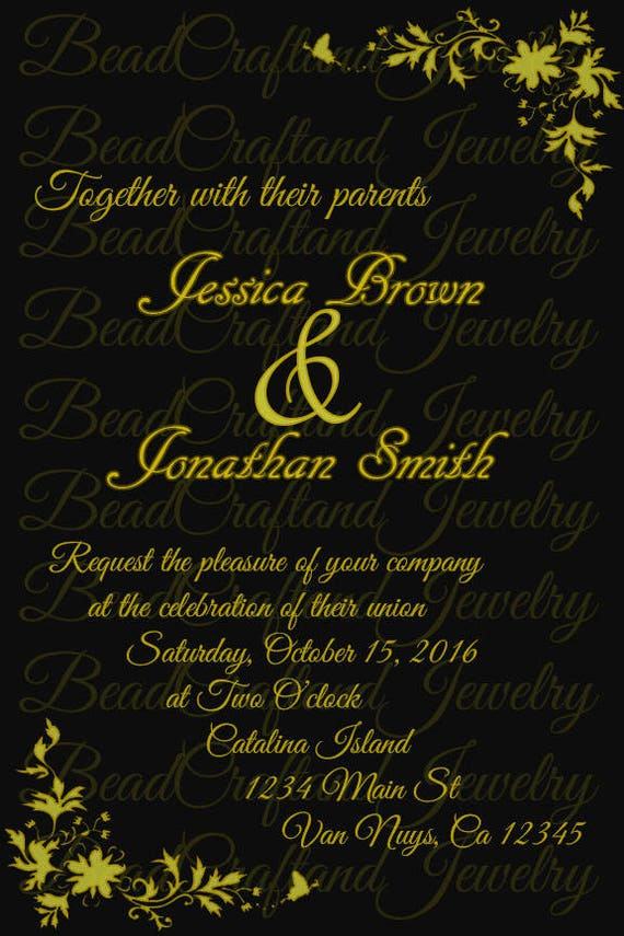 Custom Black and Gold Invites Formal Ball Wedding