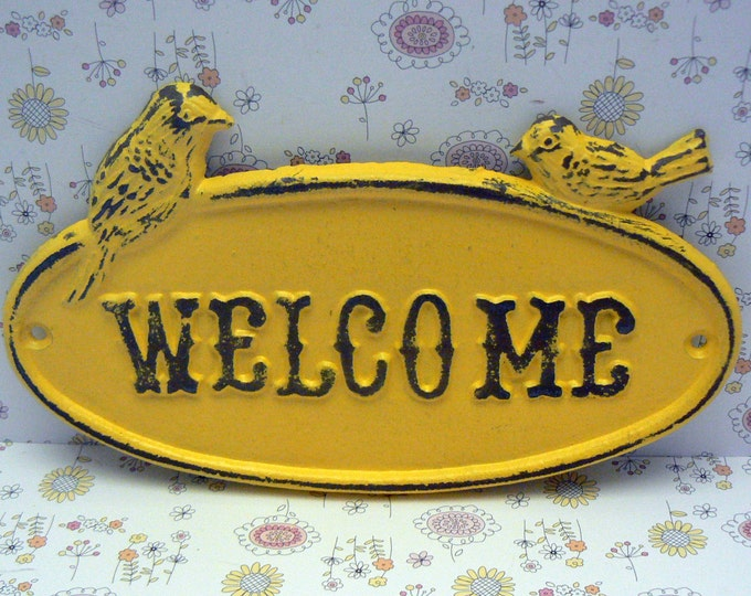 Bird Welcome Cast Iron Sign Shabby Elegance Sunny Lemon Yellow Distressed Double Birds Garden Door Greeting Wall Plaque