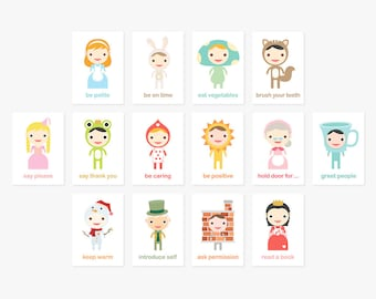 Happy Manners Card Set B of 14 - Good Manners Learning & Educational Flash Cards // Kids Wall Art Children Room Decor