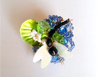 """""""Mademoiselle"""" Dragonfly Lily nature insect ring glitter beads"""