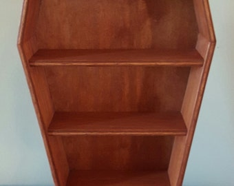 Larger Coffin shelves/ coffin display shelves/ stained coffin/ macabre shelving/ gothic shelves/ gothic display/ craft show display/ shelf