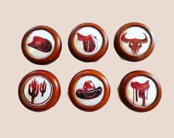 Decoupage Knobs, Western Style for Those Dedicated Cowboys and Cowgirls. Accessorize Your Kitchen Cabinet/Pantry Doors & Furniture Drawers