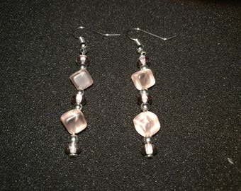 324. Translucent Pink Dangling Earrings
