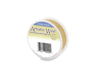 Artistic Wire 18 Gauge Silver Plated Gold 1/4lb 49feet  41954 Resembles 14kt Gold Round Wire, Jewelry Wire, Craft Wire, Silver Plated Wire