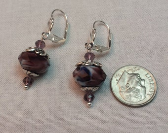 Purple Briolette Bead Dangle Earrings
