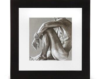 Print of art, naked man sitting in pastel, nude art print, naked man, erotic sketch