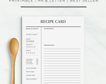 Recipe Card | Printable Recipe Cards Recipe Sheet Printable Recipe Card Template A4 US Letter Size Recipe Template Recipe Binder Recipe Book