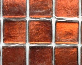 "15mm (3/5"") Bright Copper Metallic Foil Backed Glass Mosaic Tiles//Mosaic Supplies//Craft Supplies//Mosaic"