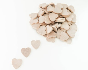 100 Unfinished Wood Hearts | 1-1/2 inch Wooden Hearts | Wedding Guest Book Favors | Wooden Hearts