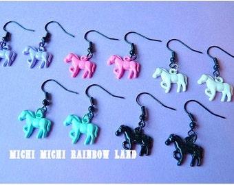 Pastel Goth Horse Earrings
