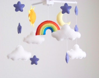 baby mobile, rainbow mobile, moon and cloud baby mobile, star baby mobile, star mobile, cloud mobile,  crib mobile, rainbow nursery decor