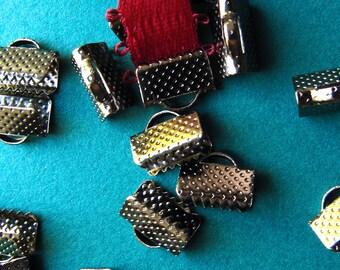 20pcs. 10mm or 3/8 inch Black Chrome or Gunmetal Ribbon Clamp End Crimps