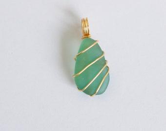 Green/Blue Teardrop Seaglass Pendant