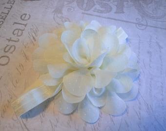 baby headband, baby girl headband,ivory headband, large flower headband, flower headband, vintage headband, wedding headband