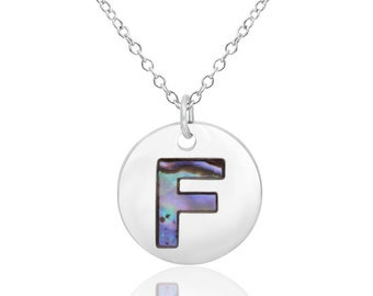 Letter F Initial Necklace Abalone Necklace Abalone Pendant Birthday Gift Hypoallergenic Jewelry Abalone Shell Jewellery Paua Shell Necklace