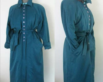 1980s Oversized Trenchcoat Teal Blue All Weather Belted Coat