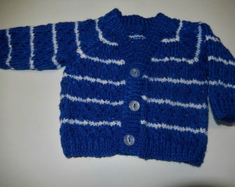 hand knitted baby cardigan / hand knit sweater / blue and white stripes / newborn cardigan / baby boy sweater