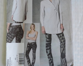 Vogue V1204 Size 6-12 ISSEY MIYAKE Misses Tunic Top & Skinny Jeans Pants Sewing Pattern / Uncut FF