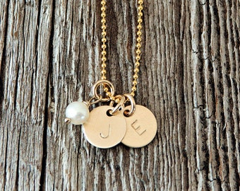 Gold Filled Tiny Initial Necklace, Tiny Gold Filled Initial Charm Necklace, Gold Charm Necklace, Stamped Gold Necklace, Gold Charm Necklace