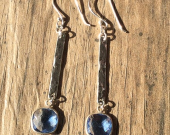 Denim Blue Faceted Crystal Sterling Silver Bezel with Hammered Silver-tone Bar earrings