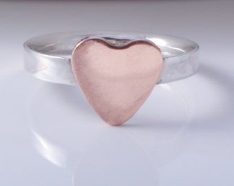 Sterling silver & copper heart ring handmade band ring 925