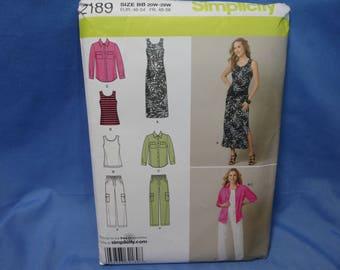 Simplicity 2189,Sleeveless Dress, Top, Pants, Sewing Pattern,bb (20W- -28W), uncut