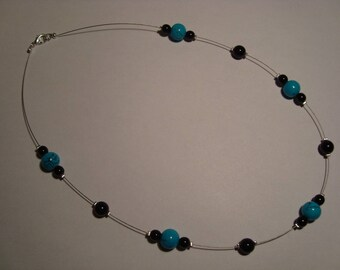 Simple black and turquoise Bead Necklace