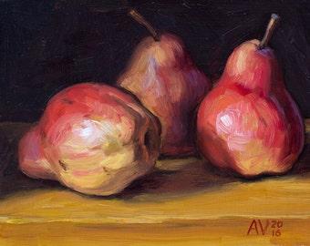 Red Pears Original Framed Oil Painting Still Life by Aleksey Vaynshteyn