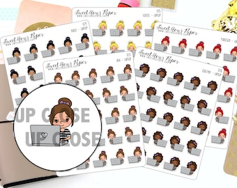 Laptop Planner Stickers - Girlboss Planner Stickers - Computer Planner Stickers - Work Planner Stickers - 1272 - 1273 - 1274 - 1275 - 1276