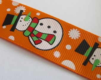 Orange patterned snowman grosgrain Ribbon