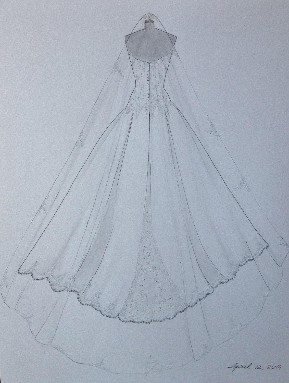 Custom Wedding Dress Sketch Back Wedding Dress Hand Drawing